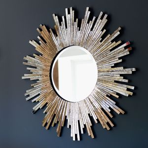 Large Burnished Sunburst Mirror - mirrors