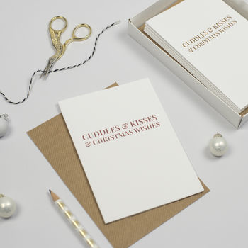 Pack Of 24 Luxury Rose Gold Foil Christmas Cards
