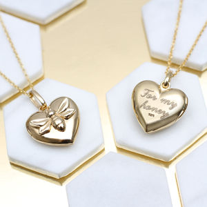 Personalised 18ct Gold Bee Locket