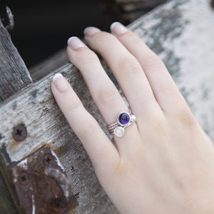 Handmade Amethyst And Moonstone Stacking Rings - rings