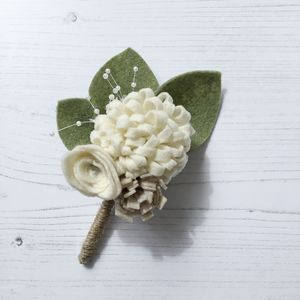 Alternative Felt Flower Wedding Buttonhole - corsages