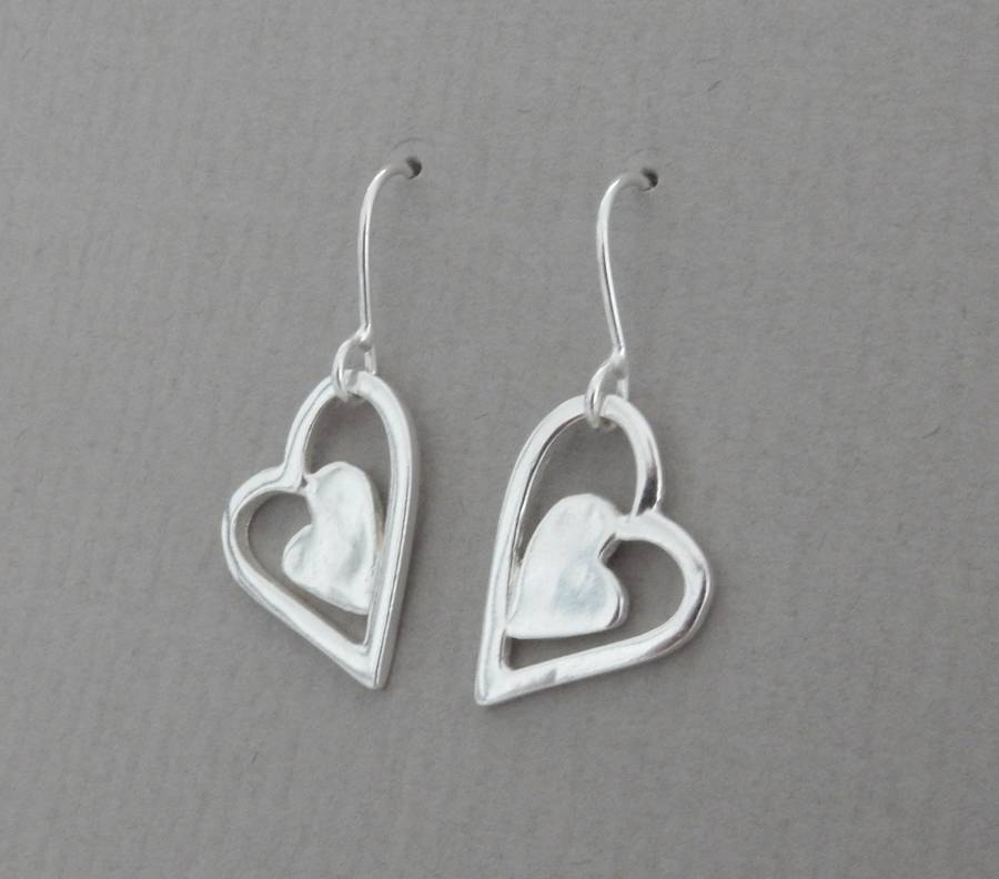 Silver Patchwork Heart Drop Earrings