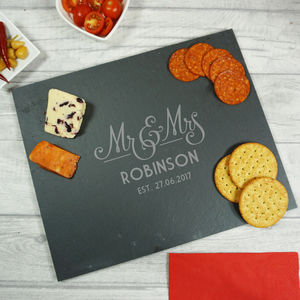 Personalised Mr And Mrs Wedding Slate Cheeseboard - dining room