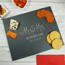 Personalised Mr And Mrs Wedding Slate Cheeseboard
