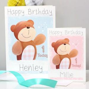 Personalised Woodland Bear Birthday Card