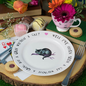 Cheshire Cat Alice In Wonderland Bone China Tea Plate - tableware