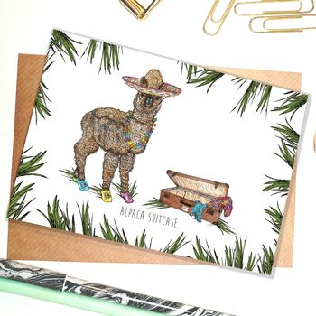 Alpaca Suitcase Greetings Card