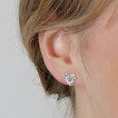 Silver Floral Heart Stud Earrings