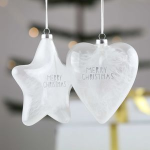 Glass Heart Or Star Christmas Ornament
