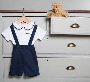 James Shirt And Romper Shorts Set 100% Cotton Navy - christening wear