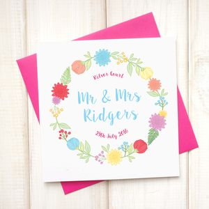 Personalised Mr And Mrs Floral Wedding Card