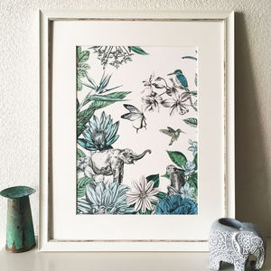 Elephant And Flowers Giclee Art Print - nature & landscape