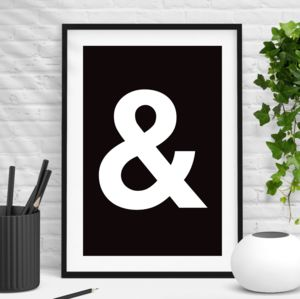 Ampersand Black And White Wall Art Print
