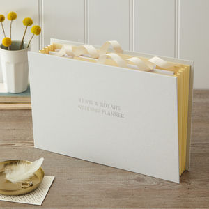 Personalised Wedding Planner In Linen - filing & storage