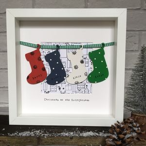 Personalised Christmas Family Presents Stockings Frame