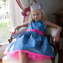 Blue Stars And Pink Flower Girls Party Occasion Dress
