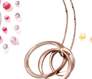9ct Gold Three Infinity Rings Necklace