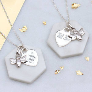 Personalised Silver Bee And Honeycomb Heart Necklace
