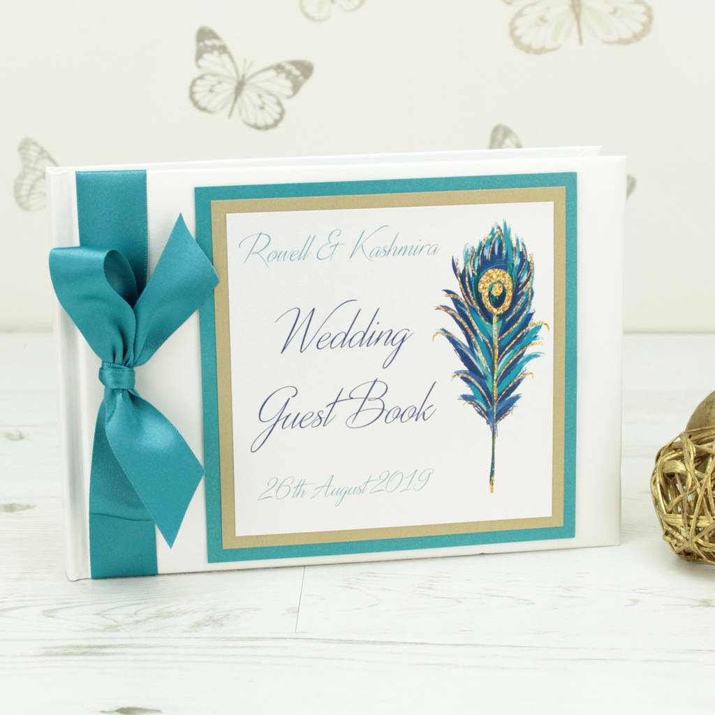 Personalised Peacock Wedding Guest Book