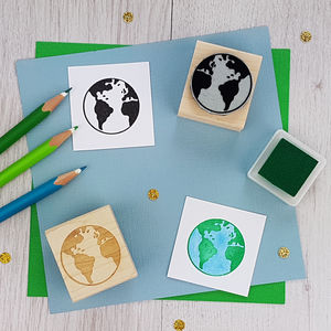 Earth Rubber Stamp - summer sale