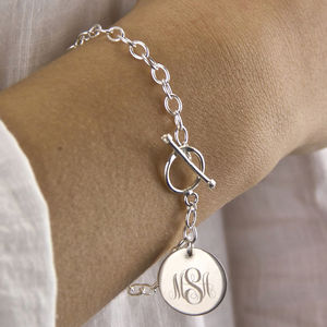 Sterling Silver Monogram Toggle Bracelet