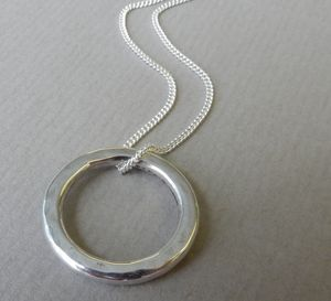 Hammered Circle Pendant And Chain