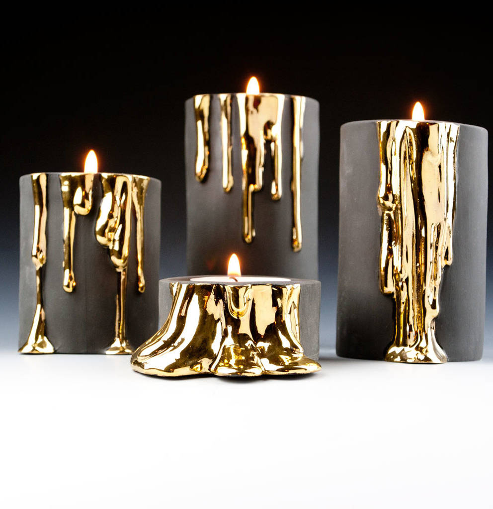 Black Candle Holders With Dripping Gold