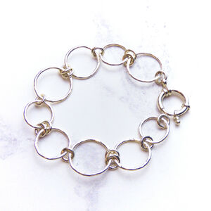Silver Hammered Double Circle Bracelet
