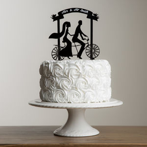 Bride And Groom Tandem Banner Personalised Cake Topper - decoration
