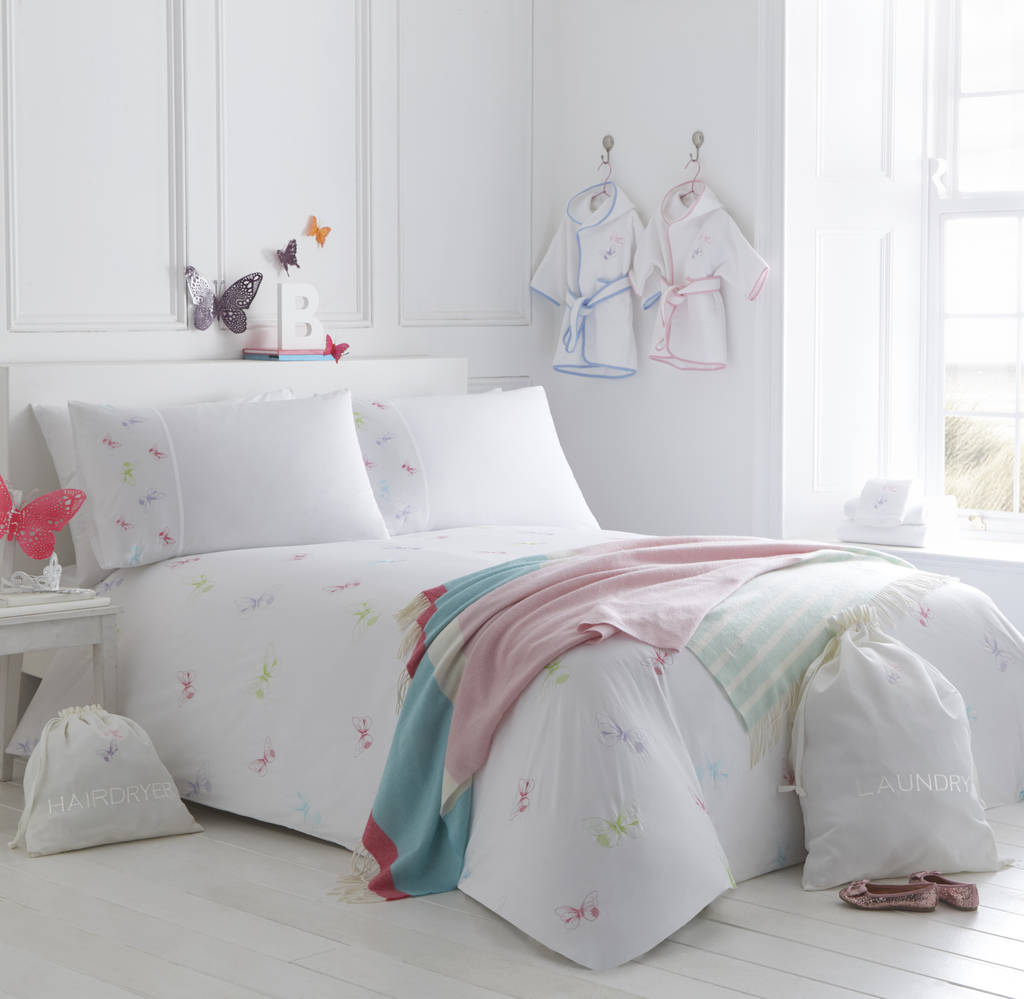 Butterflies Embroidered Bed Linen Collection