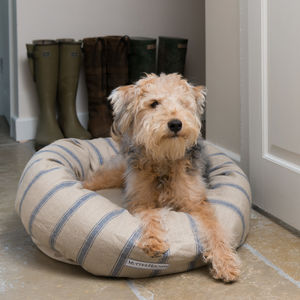 Nordic Stripe Linen Dog Beds - beds & sleeping