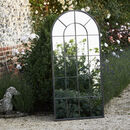 Large Black Metal Arched Garden Mirror