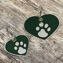 Green And Silver Heart Enamel Dog Tag
