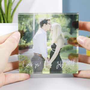 Engagement 'She Said Yes' Acrylic Standing Photograph