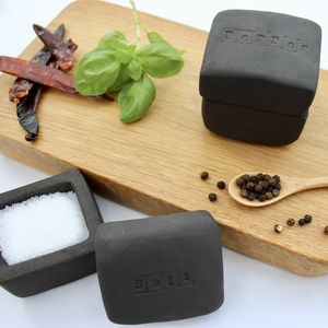 Black Clay Salt And Pepper Pots