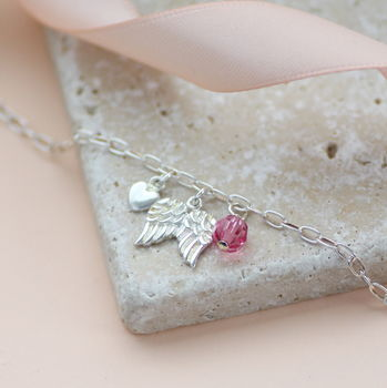 Sterling Silver Angel Wings Birthstone Bracelet