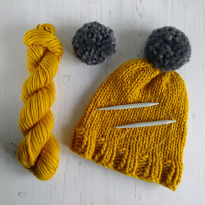 Knit Your Own Merino Wool Pom Pom Hat Kit - sewing & knitting