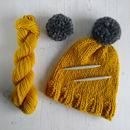 Knit Your Own Merino Wool Pom Pom Hat Kit