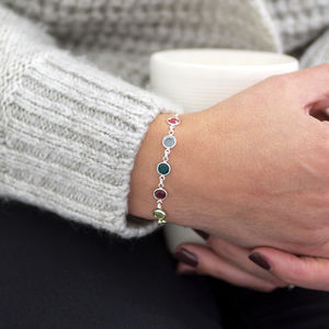 Family Birthstone Link Bracelet Gifts For Her