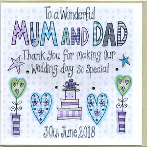 Personalised Mum And Dad Thank You Card - wedding cards