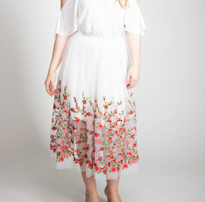 White Embroidered Tulle Flower Skirt