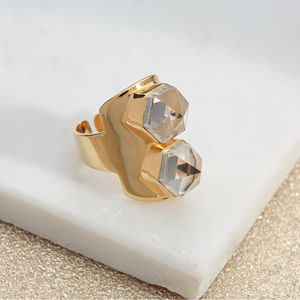 Gold Adjustable Double Point Crystal Ring - rings