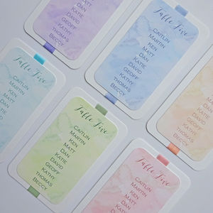 Pastel Watercolour Wedding Table Plan Cards