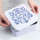 Personalised Blue And White Anniversary Tin