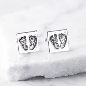 Personalised Silver Square Foot Print Cufflinks