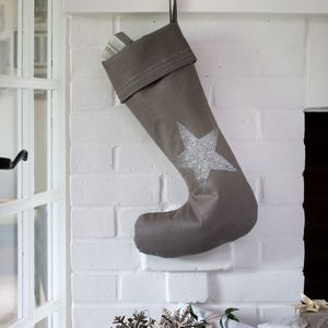 Silver Embroidered Linen Christmas Stocking - christmas