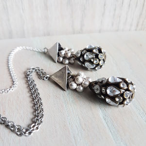 Silver Teardrop Crystal Pendant - necklaces & pendants