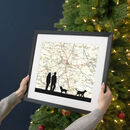 Personalised Couple Walking With Dog Map Print