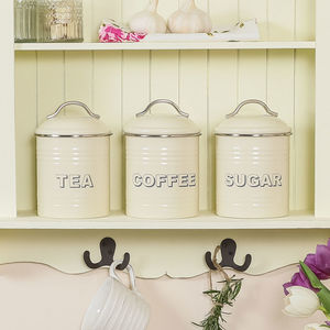 Country Cream Kitchen Tea, Coffee And Sugar Canisters