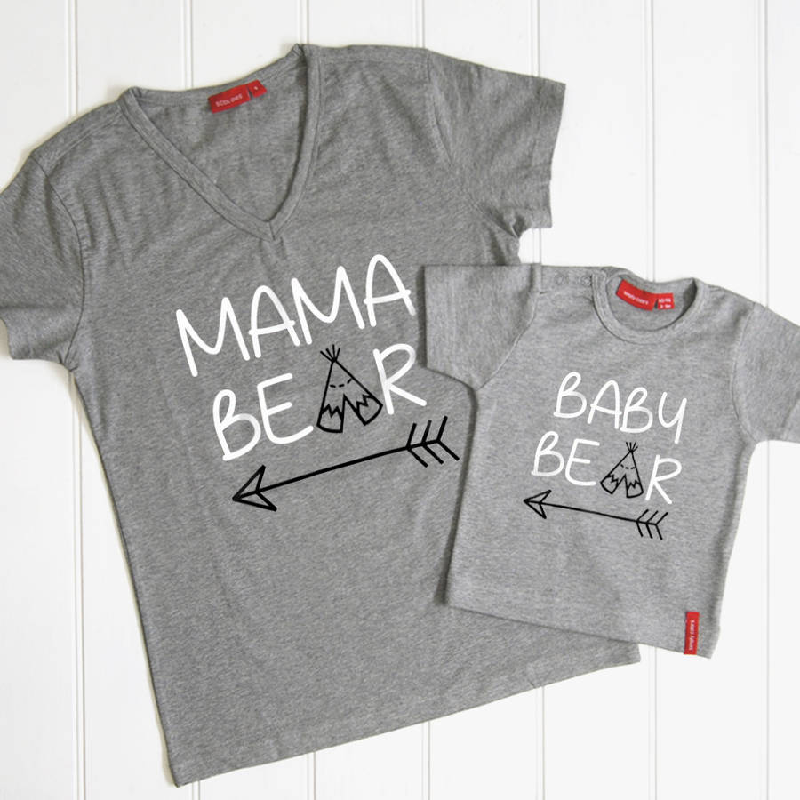 02b72fb4 personalised mama bear and baby bear t shirt set by simply colors ...